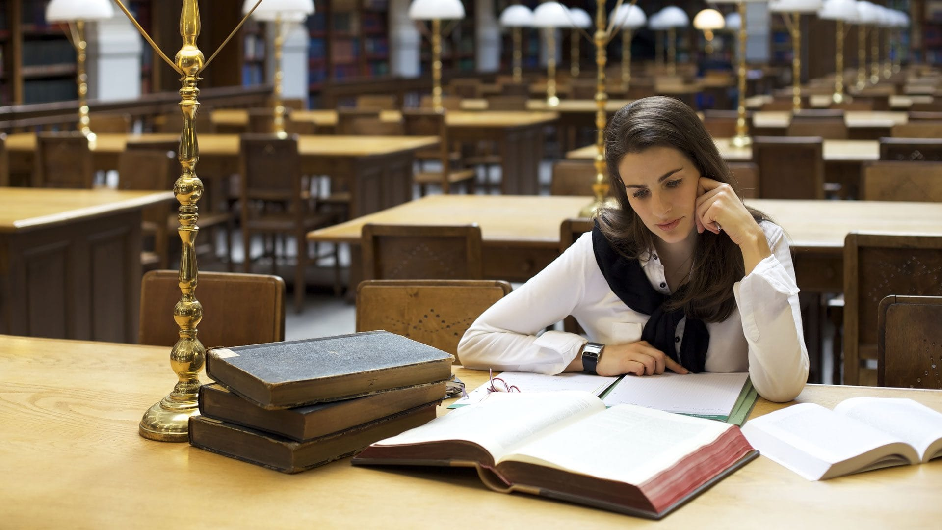 studying in library